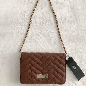 NWT BCBG Paris Brown/ Gold Mini Quilted Handbag